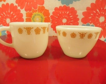 Vintage Pyrex Butterfly Gold Sugar Creamer 2 Piece Set Corning Glass Made In USA