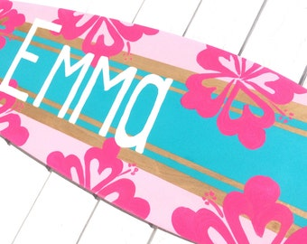Girls Beach Themed Surfboard Sign for your Surfer Girl Bedroom Decor, Large 36 inch