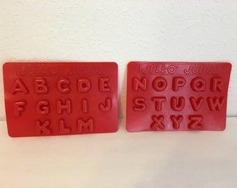 "vintage ""jello jubes"" trays, alphabet molds, jello molds, letter moulds"