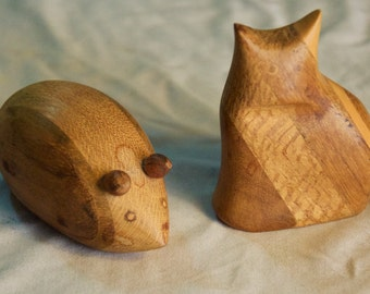 Carved Wooden Cat & Mouse