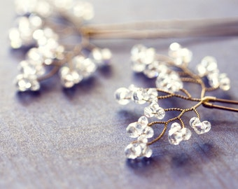 8222_Bridal hair pins, Twig crystal pins, Hair accessories, Clear AB crystal pins, Bridesmaid, Gold hair pins, Wedding hair jewelry Wedding.