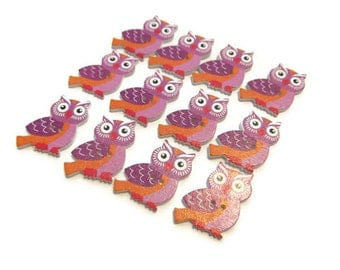 Wood Purple Orange Owl Buttons 25x20mm