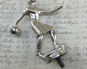Vintage metal trophy top - woman bowling - trohpy topper - old metal trophy statue - vintage sports award -