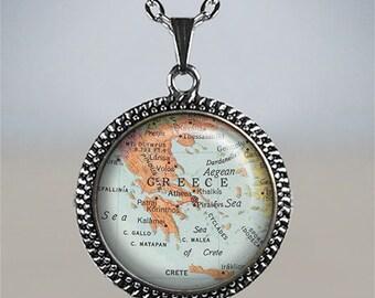 Greece map necklace, Greece map pendant, Greece jewelry, Greek map jewelry, Greek map necklace map jewellery vintage map pendant