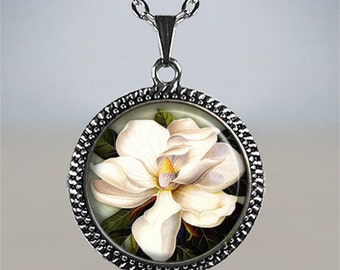 Southern Magnolia pendant, Magnolia jewelry, Magnolia necklace charm, Mother's Day gift, gift for mom