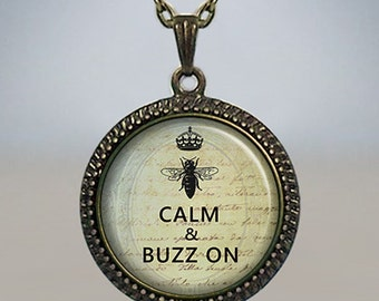 Keep Calm and Buzz On necklace, Keep Calm pendant, Keep Calm jewelry, honey bee necklace, honey bee jewelry, honey bee pendant