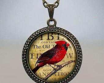 Redbird Collage necklace, redbird necklace, redbird pendant, Cardinal jewelry, Cardinal pendant, Cardinal necklace totem jewelry
