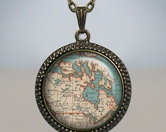 Canada map necklace, Canada map pendant, Canada necklace charm, map jewelry, map jewellery, vintage map jewelry glass pendant