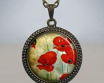 Watercolor Poppies necklace, poppy pendant, poppy necklace, poppy jewelry, poppy jewellery, Memorial Day pendant, poppy art charm