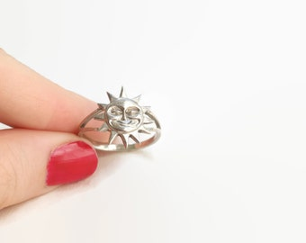 Vintage 1990s Sterling Silver Sun Ring