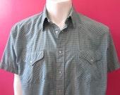 Mens XL cowboy shirt, Ruddock, vintage, teal green plaid, short sleeves, pearl snaps (651)