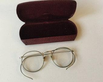 Antique Specticles with Original Case,Eyewear,Vintage Eyeglasses,John Lennon Glasses