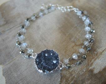 Druzy Bracelet, Jasper Quartz Druzy, Moonstone Bracelet, Silver Pyrite Bracelet, Sterling Silver Bracelet, Moonstone Jewelry Gifts For Her