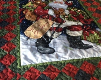 Sale Holiday Santa Quilted Panel