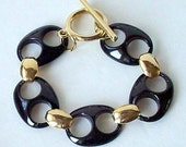 Black And Gold Large Link Bracelet, Vintage 80s Bold Chunky Retro Jewelry