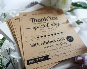 Rustic Kraft Wedding Thank You Cards Personalised (Pack of 10)