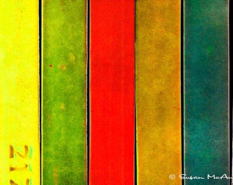 Abstract Art Print, Abstract Vertical Bars, Yellow, Green, Red, Brown, Teal, Blue, Modern Color Photograph Print