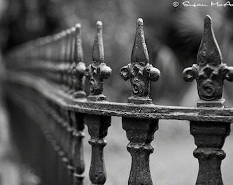 Architectural Fine Art Photograph, Vintage Wrought Iron Fence,  Black and White Photograph, Home Decor, Wall Art, Landscape Photograph