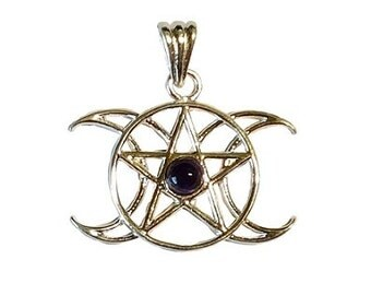 Amethyst Triple Goddess Pendant - Triple Moon, Wiccan pagan, Amethyst jewelry, Pentagram pendant, Crescent moon, Pentagram moon