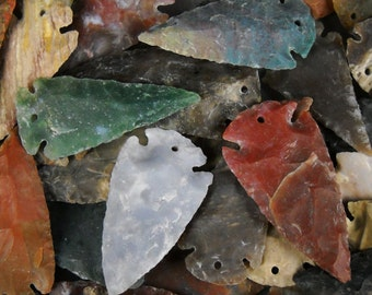"Multipack 1.5""-2.5"" DRILLED Agate Arrowheads Stone Knapped Arrowhead Spear Point Reproductions"