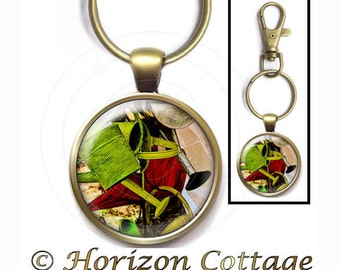 Garden Art Key Clip, Fine Art Photograph, Watering Cans Key Ring, Your Choice of Finish