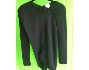 Vintage Vivienne Westwood Asymmetrical Twisted Black Wool Fringe Sweater Small 1990s Minimalist Post Punk