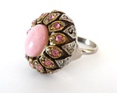 Large Pink Stone Adjustable Ring Antique Silver Tone Metal