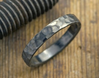 4mm Hammered Mens Wedding Band, Rhodium Plated