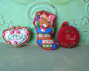 Lot of Three Vintage Kitsch Christmas Ornaments, Vintage Fabric Ornaments, Vintage Christmas Decor