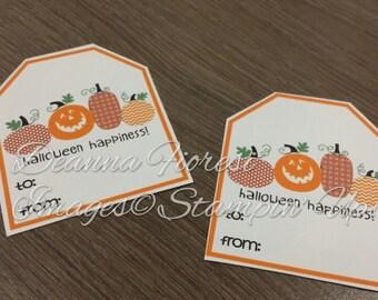 INSTANT DOWNLOAD Halloween Tags - Pumpkin, Halloween Happiness