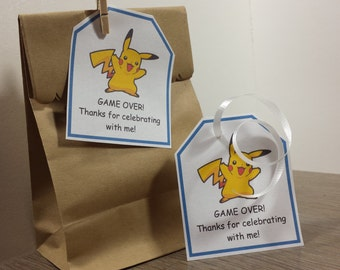 INSTANT DOWNLOAD Pokemon party favor thank you tags
