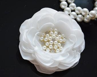 Light Ivory Flower, Milky White, Silk Flower Hair Clip, Wedding Hair Flower, Wedding, Bridal Hair Piece, Bridesmaid, Hair Accessories