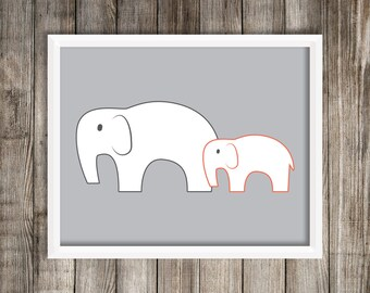 Modern Orange Elephant Art Print.  Elephant 8X10 Art Print ~ Digital Download.  Home Decor.