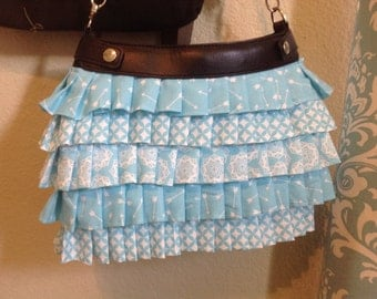 muted Aqua ruffled Suite purse cover handmade thirty one