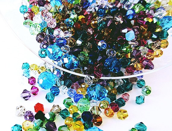 Glass Beads AB Crystal Rondelle Bicone Assortment Mix 45