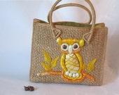 Vintage Straw and Raffia Owl Handbag. Straw Tote Bag with Yellow Raffia Owl.