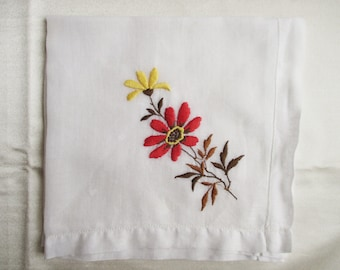 VIntage handkerchief with embroidered red flower