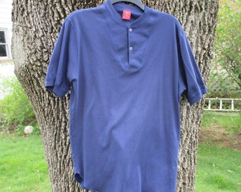 Vintage Henley Short Sleeve Mens XL Navy Blue