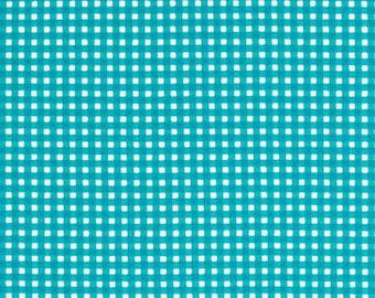 Tiny Gingham by Michael Miller - Turquoise/aqua checked FLANNEL - 1/2 yard flannel cotton fabric