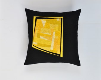 Yellow Modern Pillow, Quilted Pillow Cover, Yellow Abstract Pillow, Modern Pillow, Yellow And Black Pillow, 18 x 18, Throw Pillow