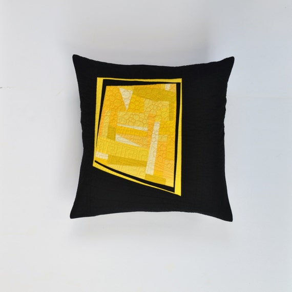 Modern Quilted Pillow Covers : Yellow Modern Pillow Quilted Pillow Cover Yellow Abstract