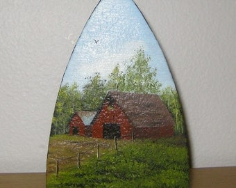 Hand Painted Farm Scene Cast Iron Sad Iron