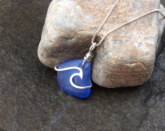 Sea glass jewelry, Deep cornflower blue sea glass ocean wave necklace, Surfer girl necklace