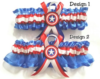 Captain America Satin and Organza frill Garter in 2 designs