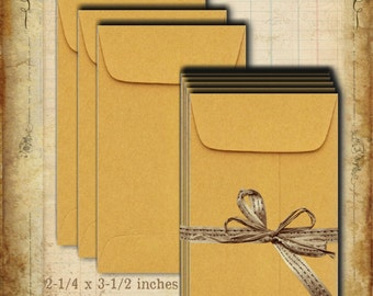 SALE Cute Small 50 Kraft Coin Envelopes - Gummed Flap - Crafting Supply - Scrapbook