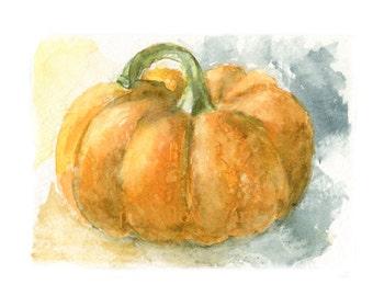 Fall Watercolor Pumpkin, Pumpkin Print, Pumpkin Art, Halloween, Pumpkin Patch