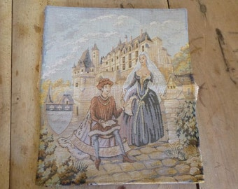 Risque French Tapestry Vintage Wall Hanging Medieval Design Ideal for Crafts or Framing