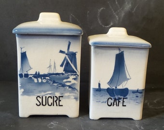 French antique set of 2 kitchen canisters 1920s.Kitchen containers. Kitchen storage.French canisters.Cottage.Nautical