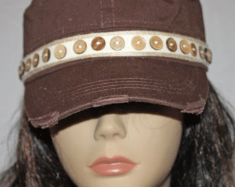 Brown Frayed Vintage Style Cadet Cap with Button Band