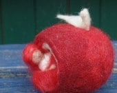 apple cottage, apple fairy, felted apple, Seasonal ornaments, autumn, apples, 7 cm, red, white, fairy, fairy tale character